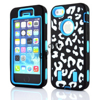 Zebra Print Rugged Defender Combo Hard Soft High Impact Case Cover for Apple iPhone5/5S + 2 pcs Screen Protector