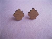 Little Cupcake Studs Laser Cut Wood Earrings