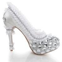 Brand Discount Lady Wedding Party Shoes White Bridal Fashion Lace Mesh Diamond Crystal Rhinestone Pumps 2014 Perfect Shoes