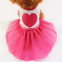 Armi store Pet Dog Cat printing love Tutu Dress Lace Skirt Clothes Costume 71008 Free Shipping