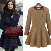 2014 new autumn and winter women coat casacos femininos zipper solid color long sleeve woolen dress winter coat women @