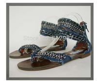 Free Shipping Retail 2014 New Fashion Women's Stylish Shiny Cystals+Chains Flat Gladiator Denim Sandals/Thong Sandals