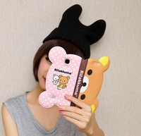 newest 3d Rilakkuma Bear Leather Flip Wallet Case For Samsung Galaxy S5 SV i9600 with Stand Holder Card Slot Case Freeshipping