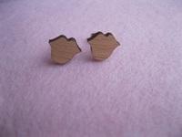 Lips Post Earrings Handcrafted wooden Jewelry Stud Earring