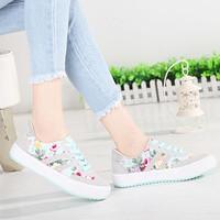 Floral Print Shoes Casual Women's Cow Muscle Shoes Outsole Women's Shoes