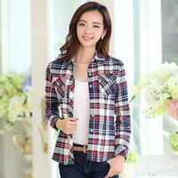 2014 autumn slim all-match women's plaid shirt female 100% cotton long sleeve length sanded shirt