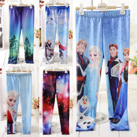 2014 New Children's Frozen Printed Leggings Girl's pants Pencil Trousers baby girl Elsa Anna leggings Galaxy pants 10 Style