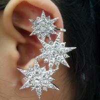 Free shipping women's excellent quality full crystal flower earring ear hook flower full rhinestone star earrings clip
