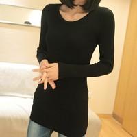 sweaters 2014 women fashion mercerized cotton slim all-match long-sleeve sweater basic shirt sweater turtleneck o-neck female