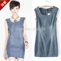Free ship women's jeans dress 2014 new design fashion round neck one-piece dress vest shirts drop ship jeans