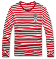 2014 New summer fashion men's slim stripe  O-neck long-sleeve  cotton  T-shirt  Y0373