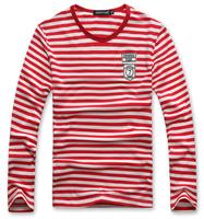 2014 New summer fashion men's slim stripe  O-neck long-sleeve  cotton  T-shirt  Y0373
