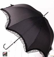 2014 New Princess Crescent arch umbrella small dot Lace decoration long straight sun-rain umbrella