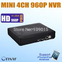 4CH Mini NVR IP Camera Recorder Surveillance 960P/720P IP cameras nvr HD Cloud P2P ONVIF HDMI/ VGA E-SATA HDD Connection 2 USB