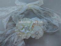 8set/Lot  (2pcs/ Set )Ivory Baby Girl Lace Sash and Matching Headband Photography Props