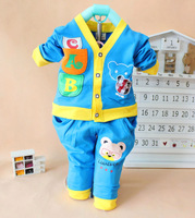 2015 New baby Sping open stitch underwear suits casual character bear children clothing set 6800