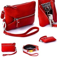 Multifunctional Women Genuine Leather Wallet Key Holders Wristlet Clutch Coin Bag Wallet Cow Leather+PU Clutch Bag Purse HB-148