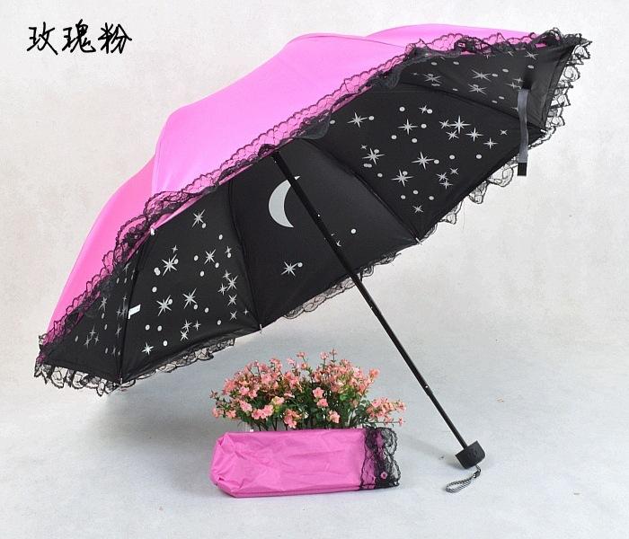 6 Colors Supper UV Protection Rain Women Umbrella Star & Moon Inside Picture Sunshade Lace Girl Children Originality Umbrellas(China (Mainland))