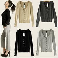 new arrival women cardigan sweater 2014 fashion spring autumn elegant work wear v neck long sleeve button sweater coat for women