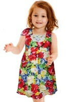New 2014  Girl's Elegant one-piece Flower Print dresses Spring Dress on aliexpress