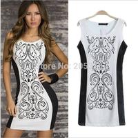 Free ship sexy lady's one-piece dress 2014 hot girl's fashion round neck pencil dress vest long t shirts drop ship tee