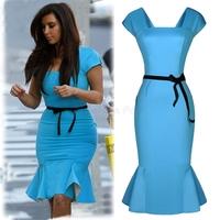 New Fashion Knee Length Peplum Bodycon Dress Women OL Office Work Career Summer Pencil Dress Plus Size Mermaid Party Dresses Y42