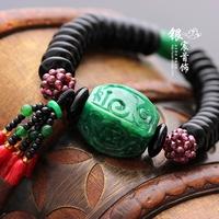 Silver jewelry handmade diy accessories natural iron dragon pillow stone bracelet jade Women bracelet