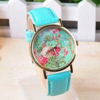 2014 New Fashion GENEVA luxury brand men's women's girls flower casual leather strap quartz analog dress wristwatches WTH94