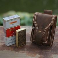 Handmade Vinatege Zippo Case Cigarette Pack Bag Distressed Leather Waist Bag Motorcycle Pocket-V002