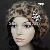 Free Shipping 2014 New British luxury large leopard winter hat Angora Blend female fashion rhinestone bow women hat