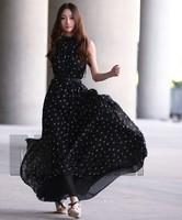 Europe and America Noble Temperament Polka Dots Floor-Length Chiffon Long Women's Dress (with belt) AL-132