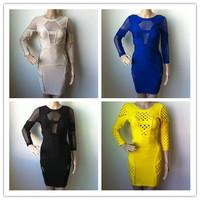 Blue,Beige,Black,Yellow HL Bandage Dress Hollow Out Long Sleeve Backless Dress Celebrity Dress Evening Party Dress