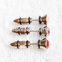 HOT Cool Fashion Stainless Steel Earrings Tip Cone Bullet Stud Earrings Men Jewelry Shiny Rhinestone Ear Nail