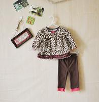 Drop&Free Shipping 2014 New Girls clothing sets Baby Leopard Autumn 2pcs suit Lace T-shirt+ pants leisure infant clothes