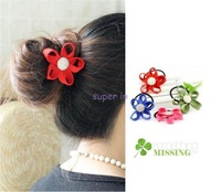 South Korea imported jewelry zipper teeth side flower hair ring hair rope the gold buckle ring head flower multicolor
