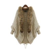Fashion women winter fur collar cardigan casaco feminino inverno batwing loose sweater fuzzy coat perfecto survetement femme