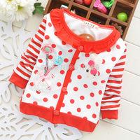 New 2014 Children Coat Baby Girls' Cardigan Polka Dot Flower Girls' Cardigan Kids Fall Clothes Children Clothing Outerwear