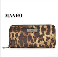 2014 New Mango MNG Brand Design High Quality PU Leather Wallets Leopard Women Zipper Purse Lady Party Clutch Handbags P250