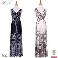 Plus Size Women Clothing Milk Silk White Leaf Full Print Summer Long Maxi Dress For Party vestidos femininos