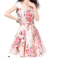 Summer dress 2014 brand fashion print dress was thin waist big swing casual dresses short-sleeved satin dress free shipping