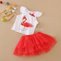 RETAIL HOT Flamingos 2pcs Summer Girls clothing sets Tutu Skirt + T-shirt Fashion Babies&infants clothes set 9-24M