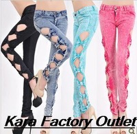 2014 spring summer and autumn fashion sexy girl's new washing hollow bow  skinny retro snowflake women pants sexy pencil jeans