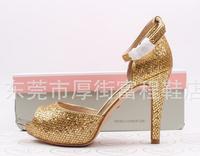 New European style sexy pumps women summer open-toed high heels glitter Sandals Gold Size: EU35-39 free shipping