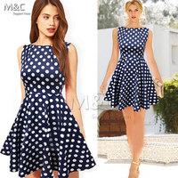 Dark Blue Clothing women summer dress 2014 New Daily Odeedu Eenschin Sleeveless Polka Dot Vintage Elegant Party Dresses LYQ-025