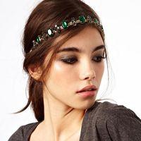 Fashion Hair Chain Hair Band Rhinestone Emerald Ribbon Green Stone Gold Wedding Headband Hair Accessories Jewelry For Women