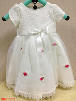 Free Shipping 2014 New Fashion Girls' Sweet Dreamy Delicate Lace+Flowers Party Dresses For Ages 1~4T Years Old Girls