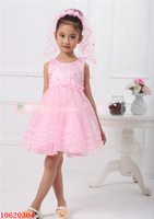 Free Shipping 2014 New Fashion Girls' Sweet Dreamy Delicate Rhinestones+Embroidery Party Dresses For Ages3T~6 Years Old Girls