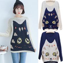Mujer del suéter de invierno 2014 suéter asimétrico Loose lindo Knit de gran tamaño a juego suéteres navidad para mujer(China (Mainland))
