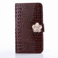 3D Wallet  Bling Flower   Credit Card Holder Stand PU Leather Case Cover For Samsung Galaxy Ace 3 S7272  Free Shipping