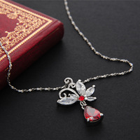 2014 New Style Hot zircon crystal necklace Top fashion red butterfly bowknot pedants party wedding Alloy material free shipping